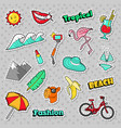 beach tropical badges patches stickers vector image vector image