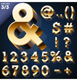 Set of golden 3D alphabet vector image