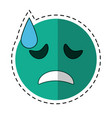 cartoon crying face emoticon funny vector image