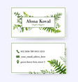 floral business card design with greenery leaves vector image