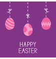 Happy Easter Hanging painted eggs Dash line with vector image