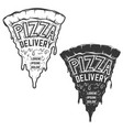 pizza delivery a piece of pizza with lettering vector image