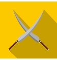 Two crossed Japanese samurai swords icon vector image
