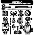 Viking Black White Icons Set vector image