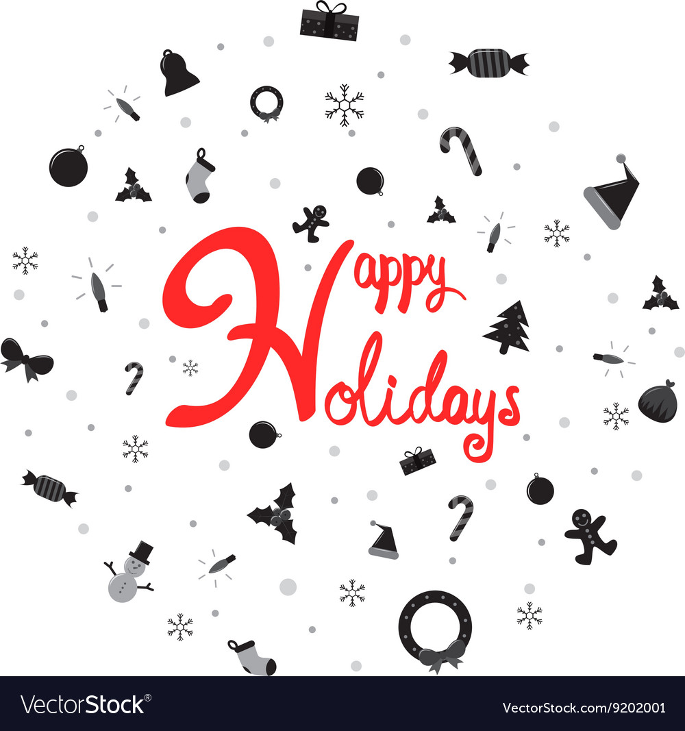 Happy holiday with christmas icon vector
