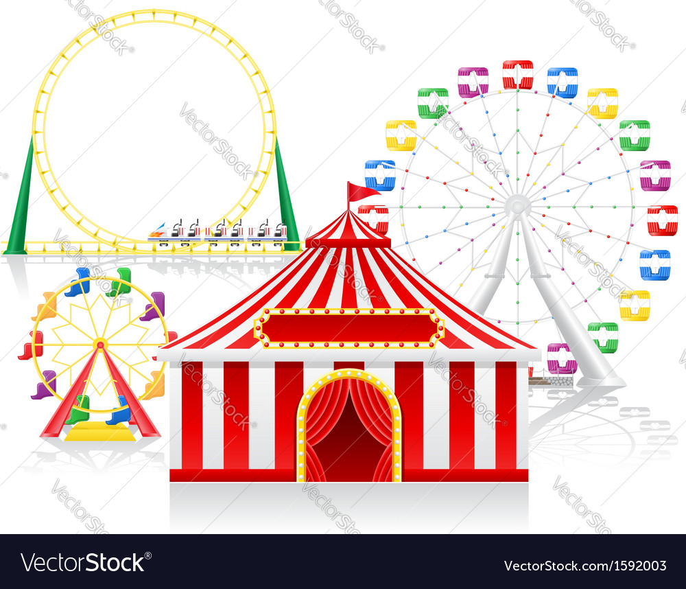 Circus tent and attractions vector