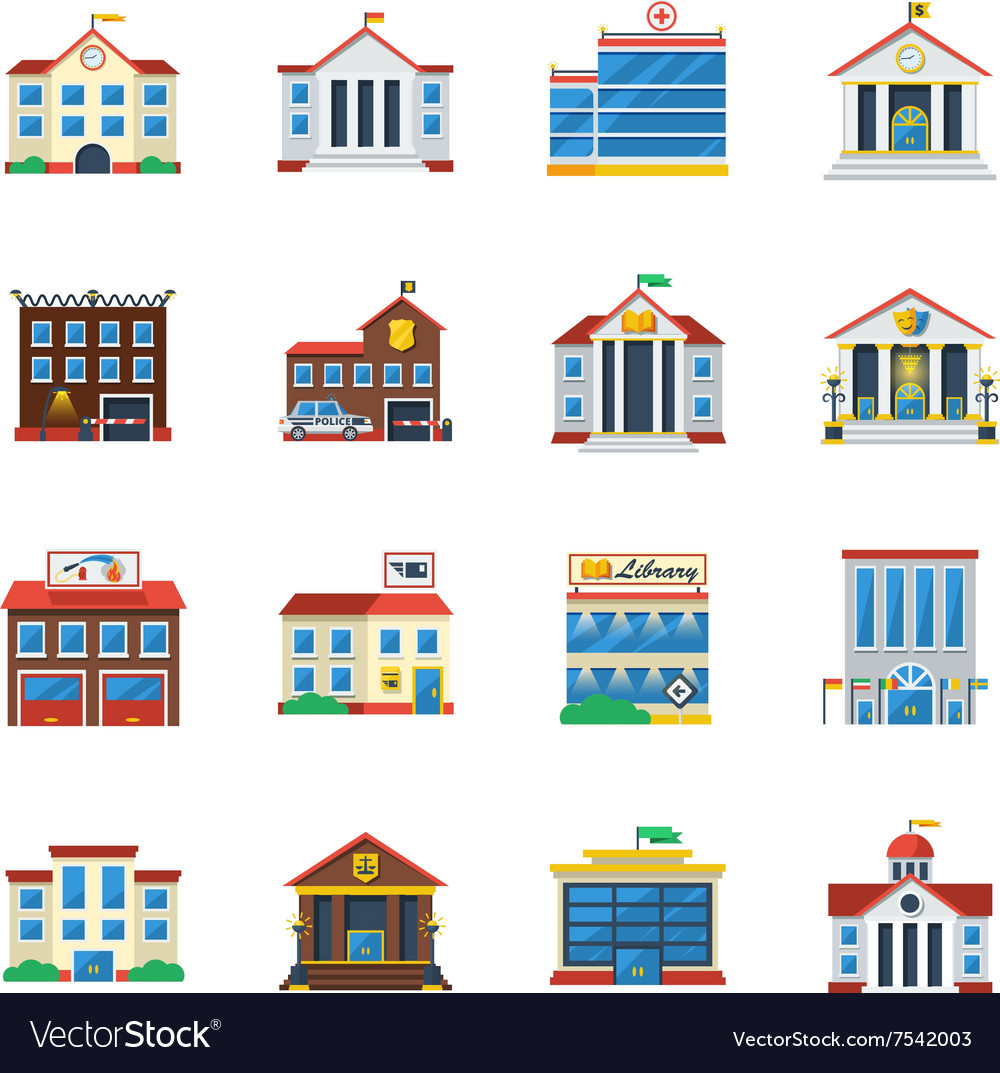 Government buildings flat color icon set vector
