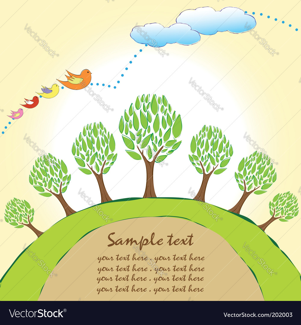 Planet trees background vector