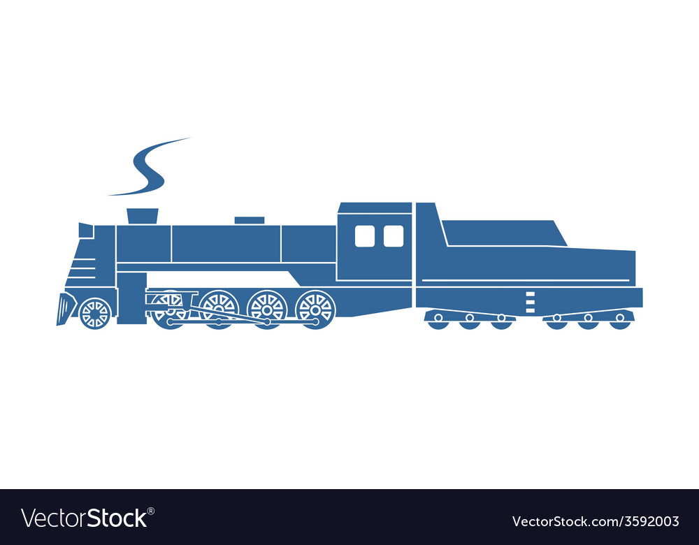 Steam locomotive with tender vector