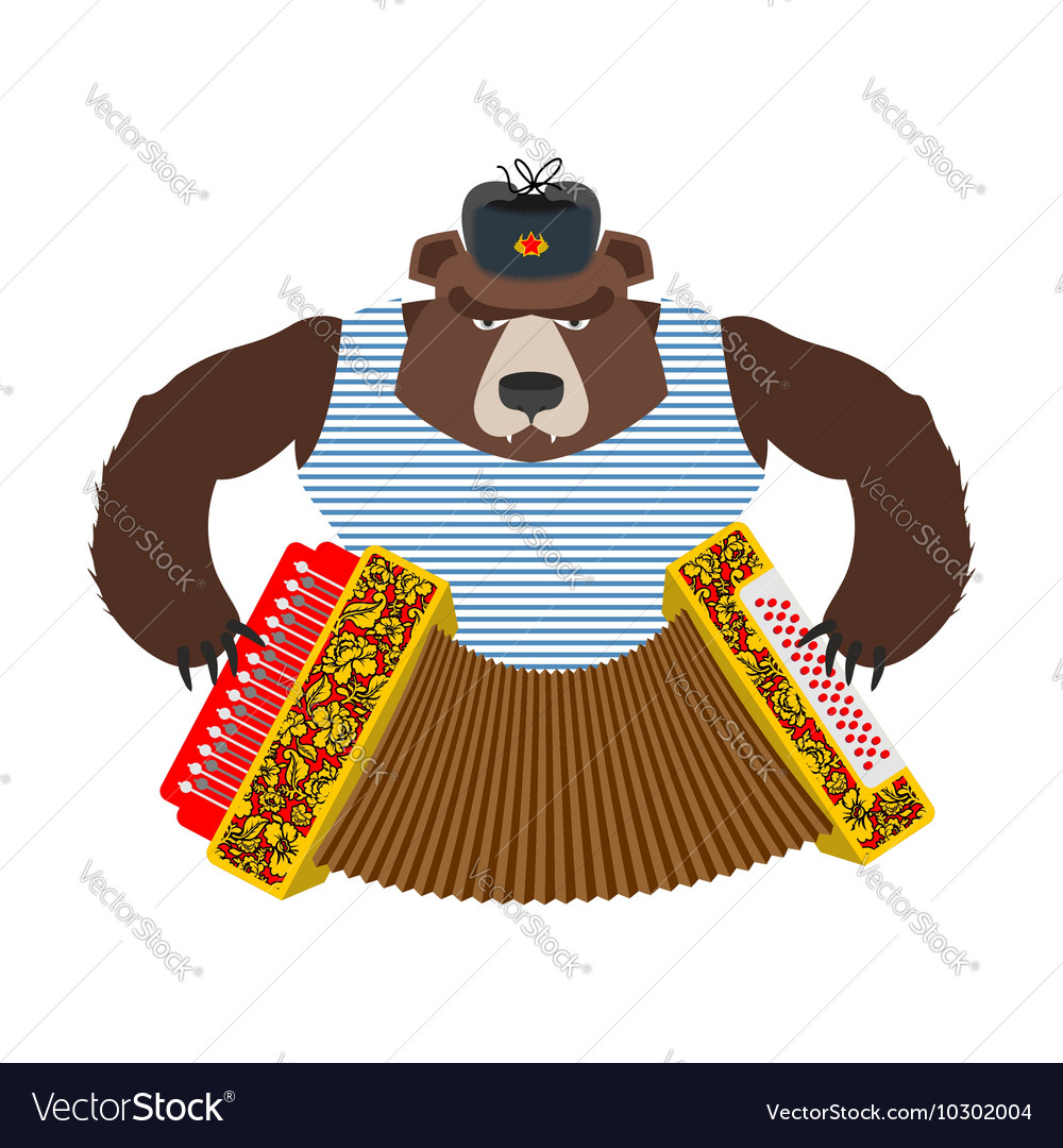 Russian patriot bear with accordion wild animal vector