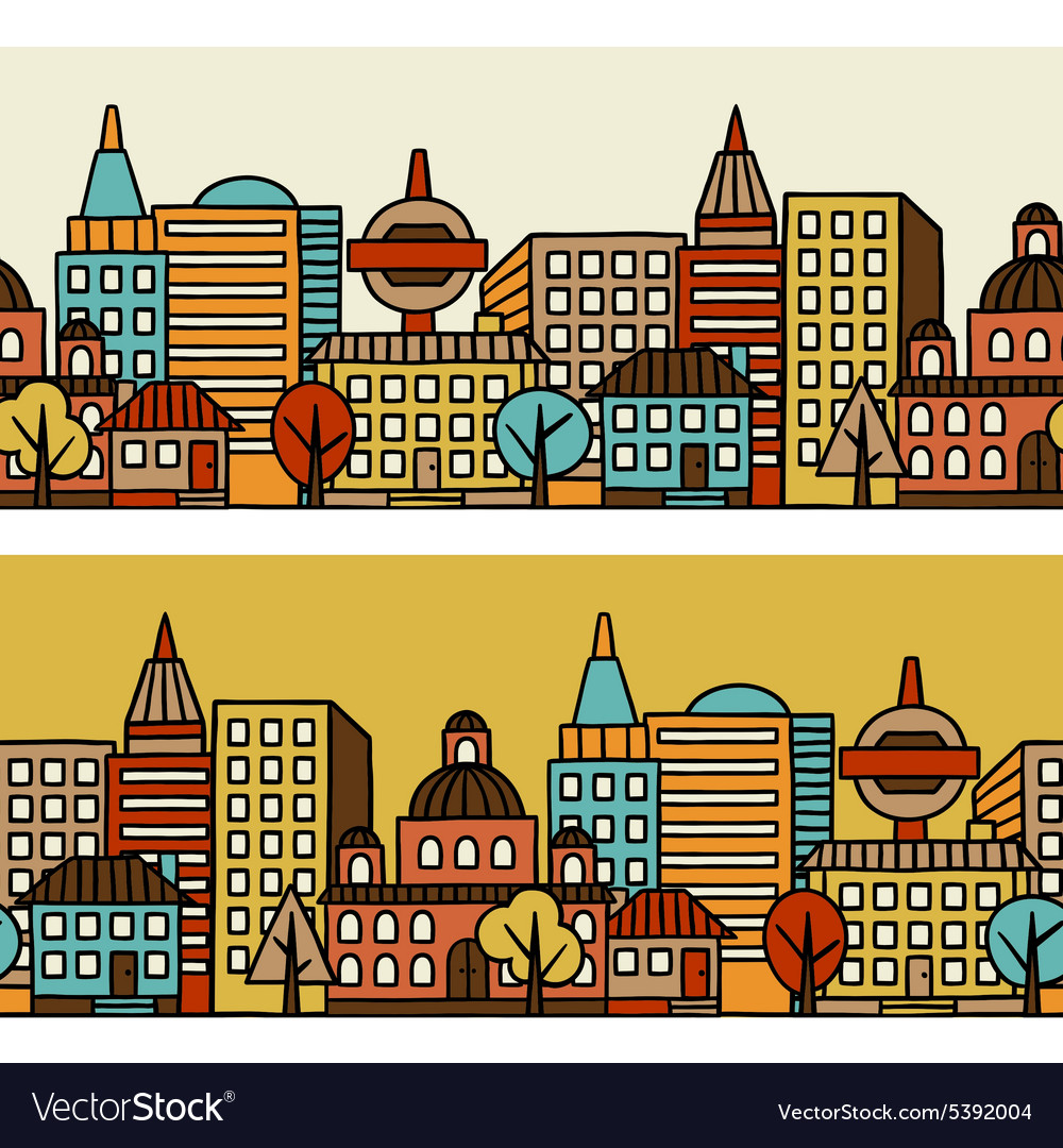 Town seamless pattern with hand drawn houses vector