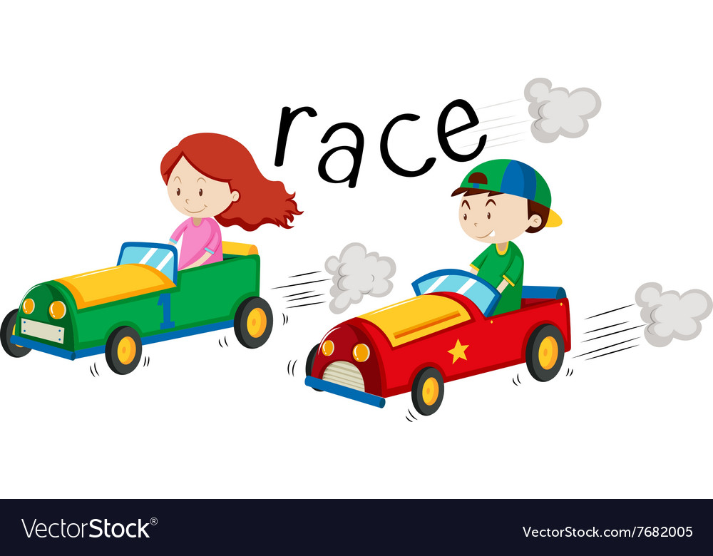 Boy and girl racing car vector
