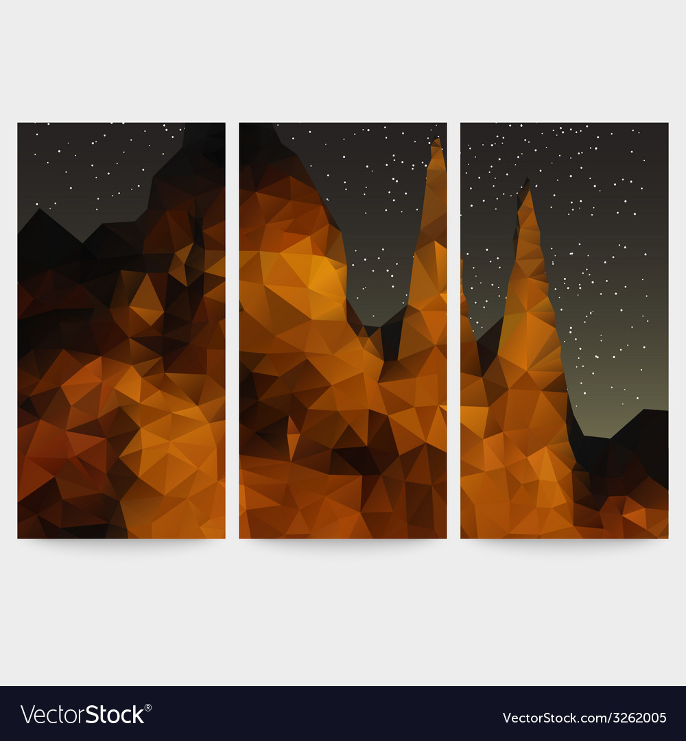 Set of beautiful night landscape backgrounds vector