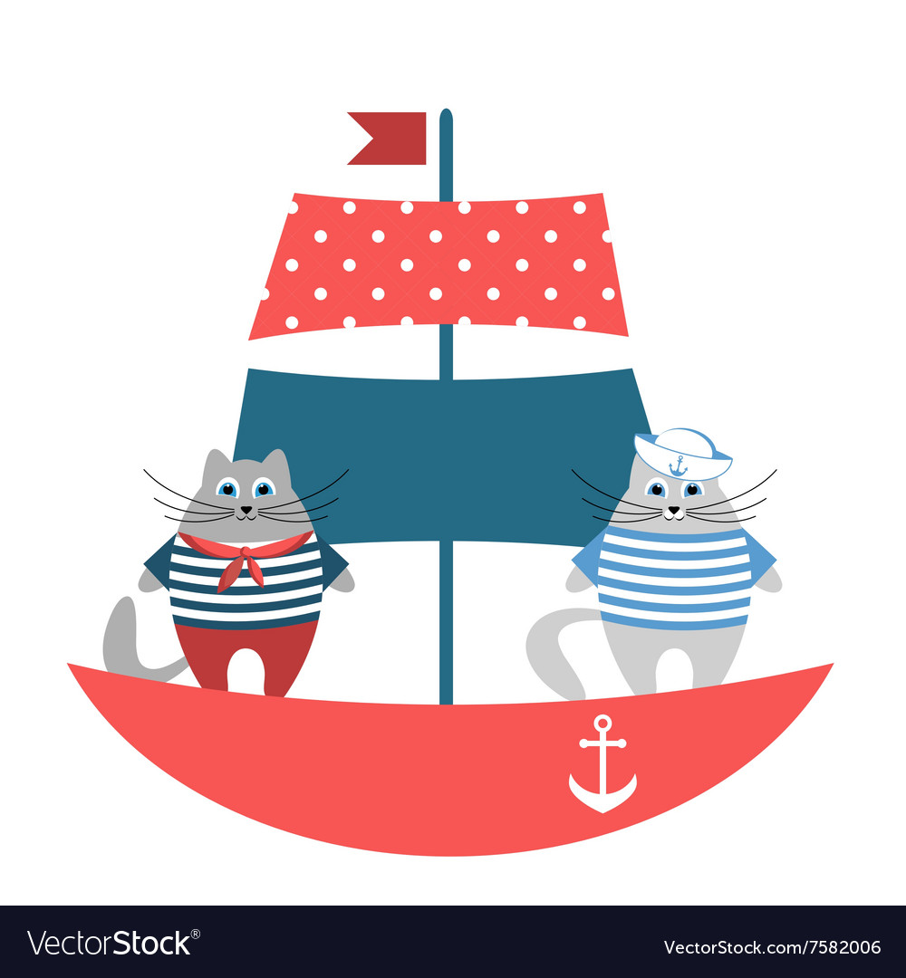 Cats sailors on the boat vector