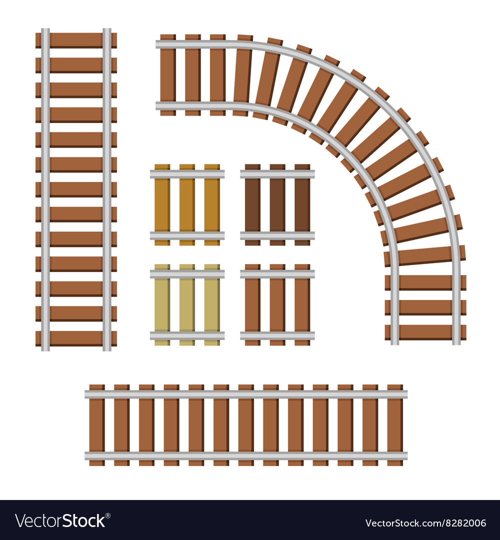 Railroad elements set on white background vector