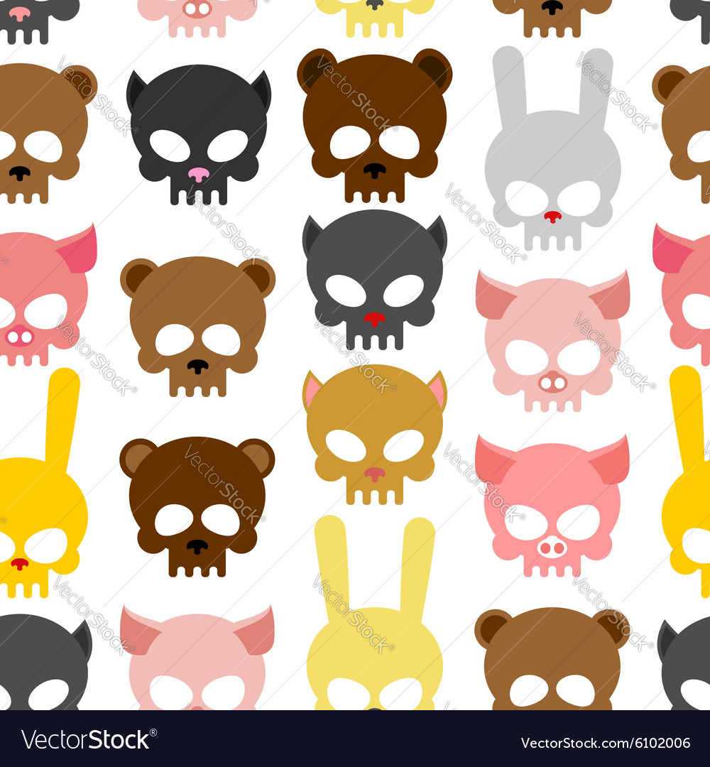 Skulls animal seamless pattern background for vector