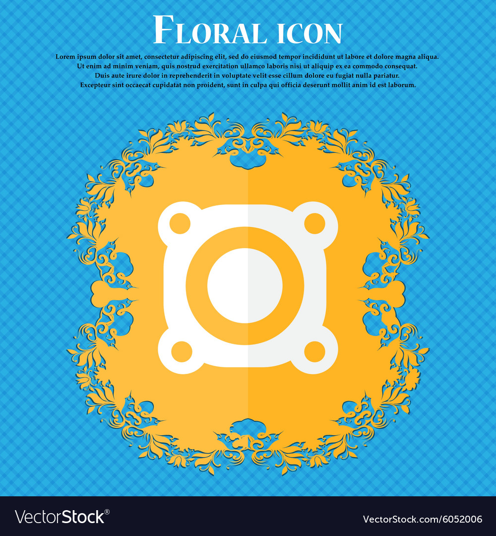 Speaker volume sign icon sound symbol floral flat vector