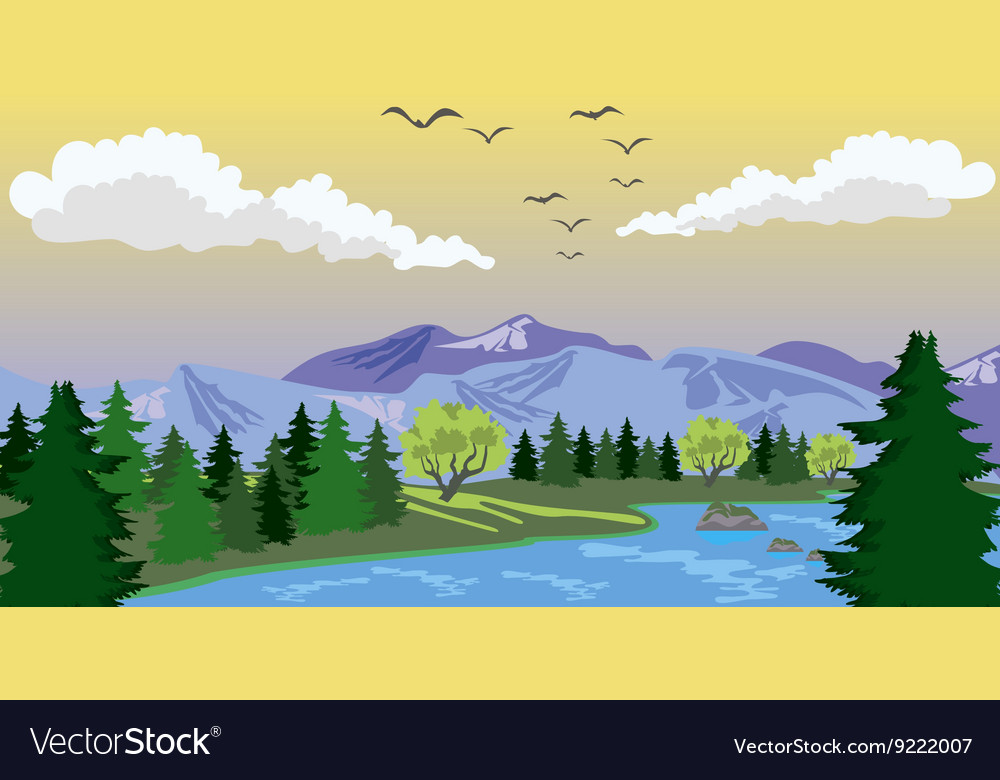 Beauty landscape with lake and mountain vector
