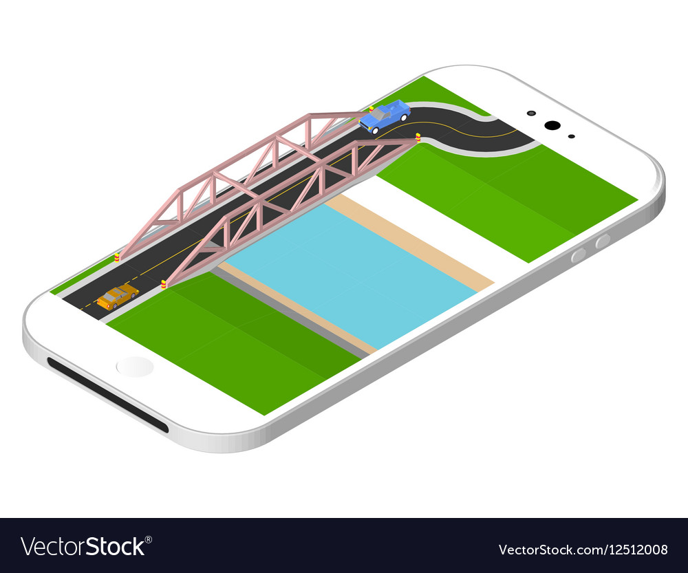 Isometric bridge with a road over the river vector