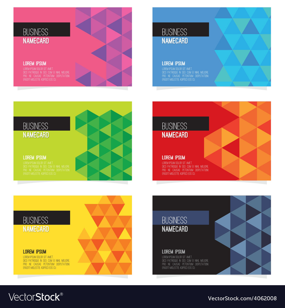 Set of six abstract name card vector