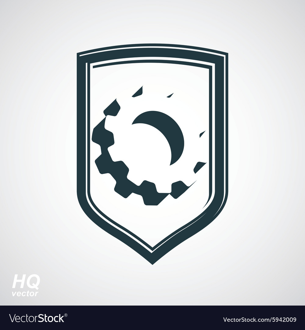 Gear symbol in shield vector