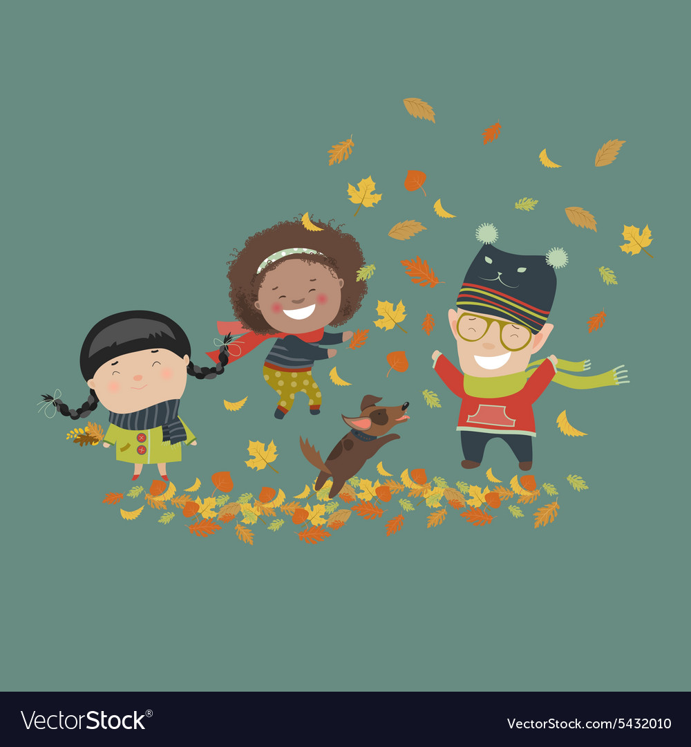 Kids playing with autumn leaves vector