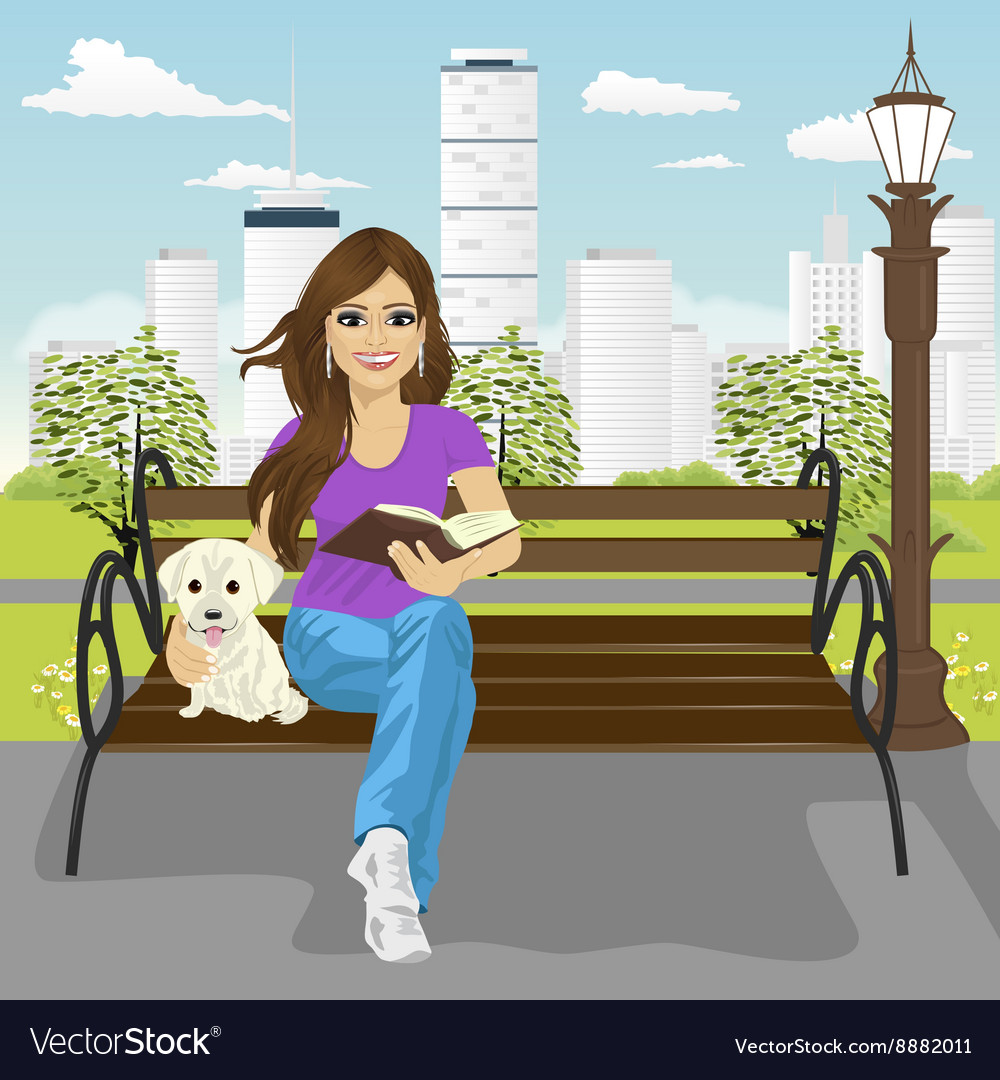 Young happy woman enjoying freetime in city park vector