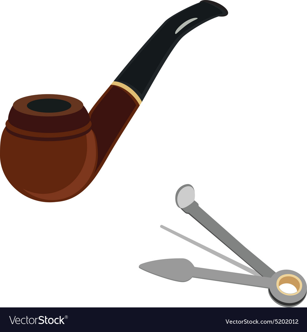 Smoking pipe and cleaning tool vector