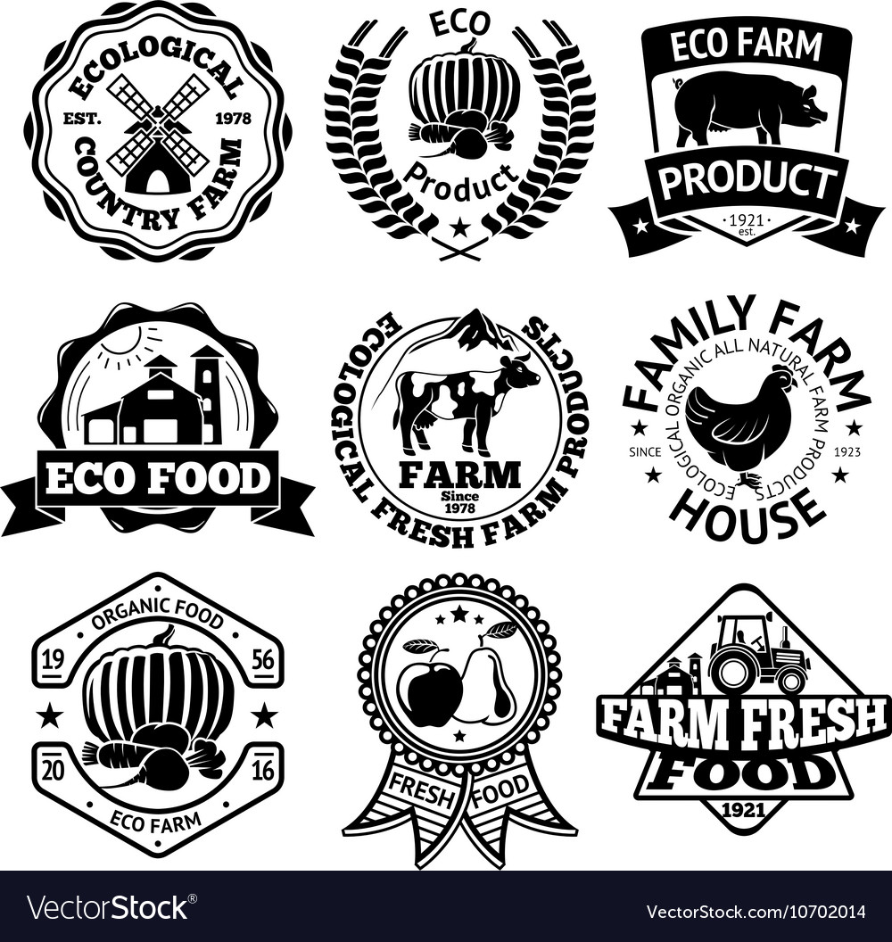 Farm food labels set with mill vegetables vector