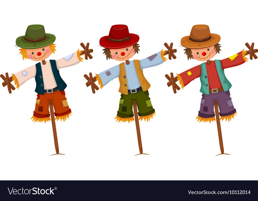 Three scarecrows on wooden sticks vector