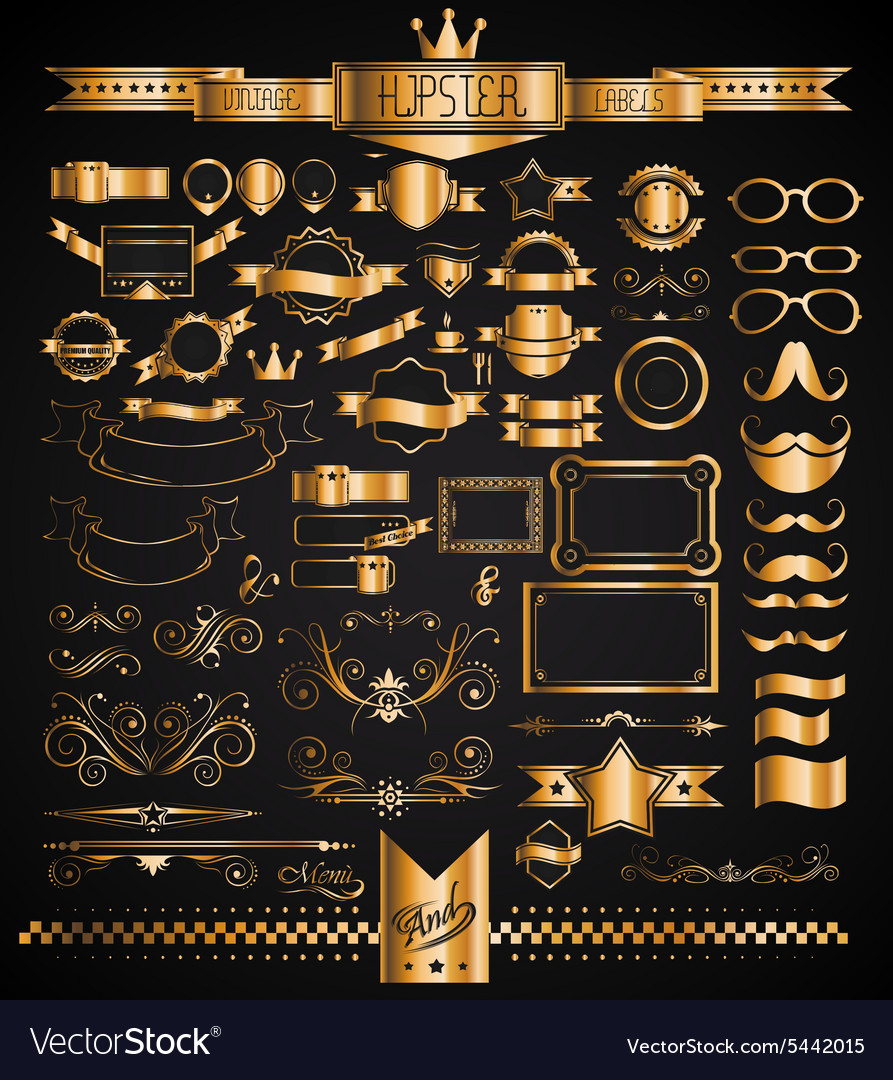 Mega set of vintage golden labels for your hipster vector