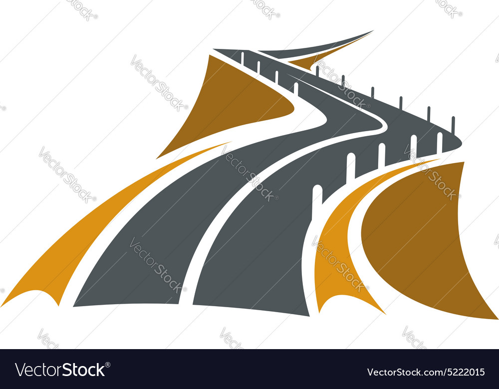 Mountain road over the precipice with steep slopes vector