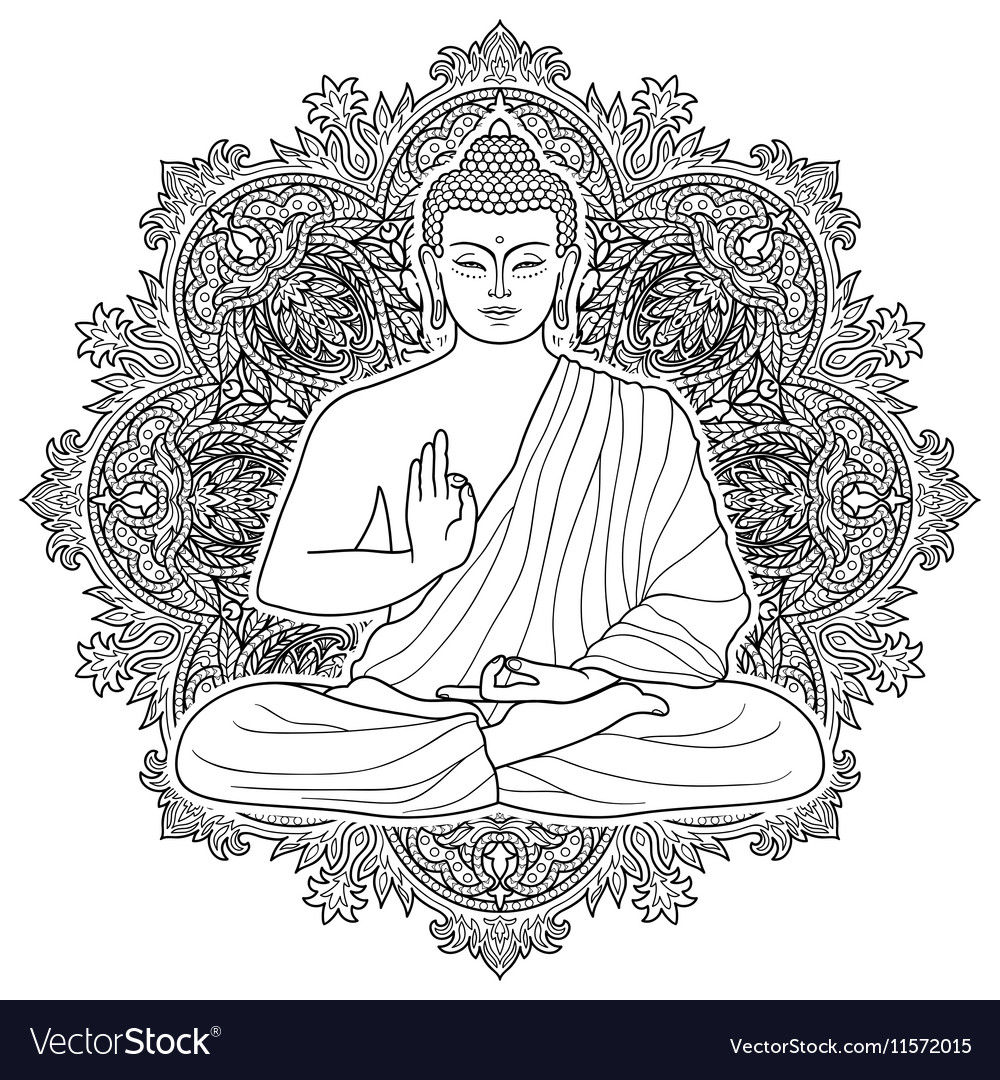 Sitting bubbha in lotus position vector