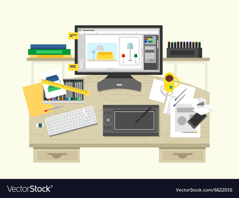 Interior design workspace vector