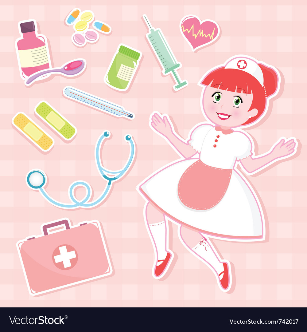 Nurse set vector