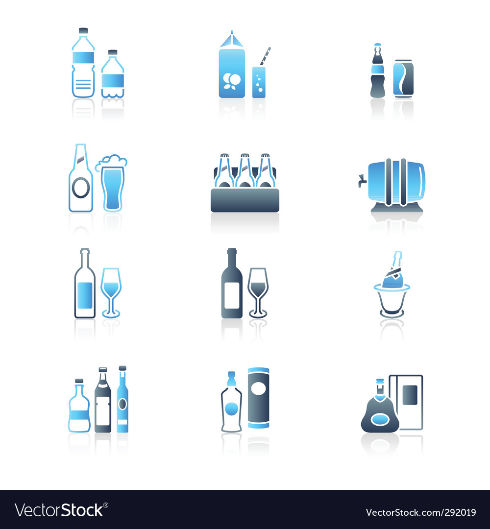 Drink bottles icons marine vector