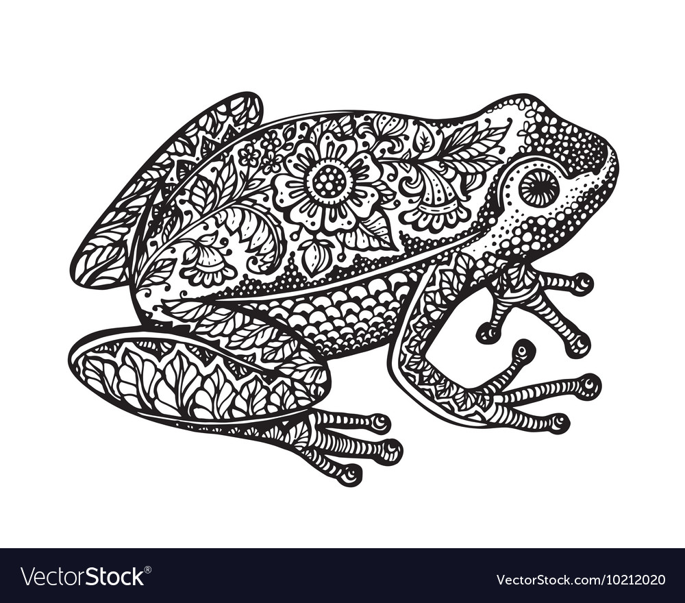 Black and white ornate doodle frog in graphic vector
