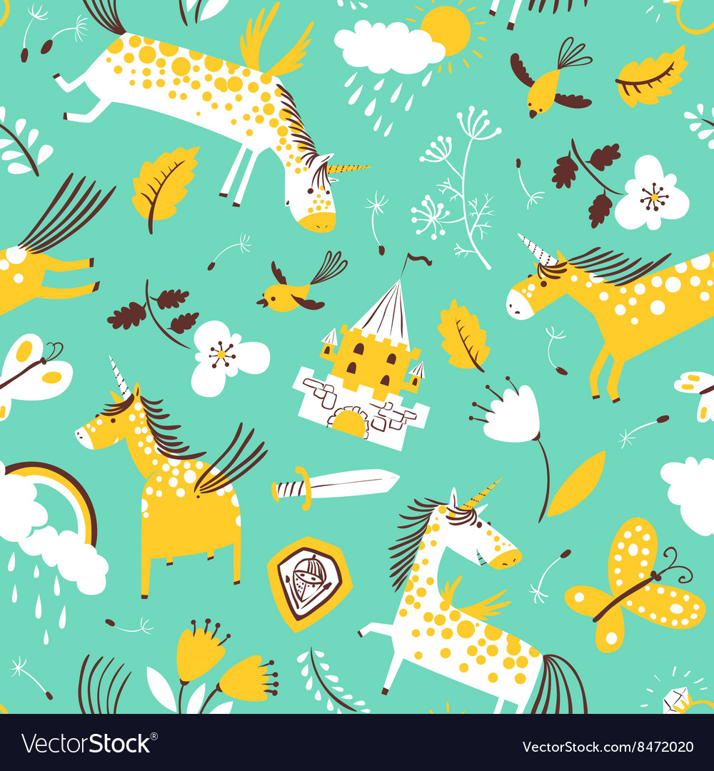 Doodle unicorns seamless pattern vector