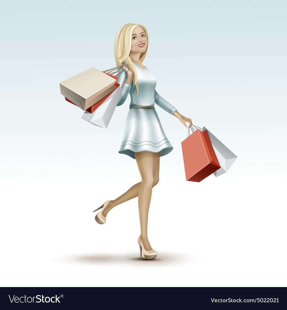 Blonde woman girl in dress with shopping bags vector