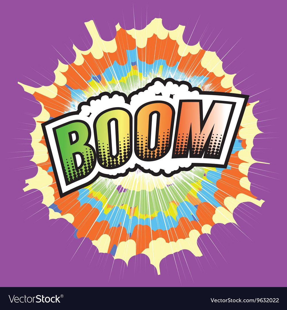 Boom wording sound effect for comic speech vector