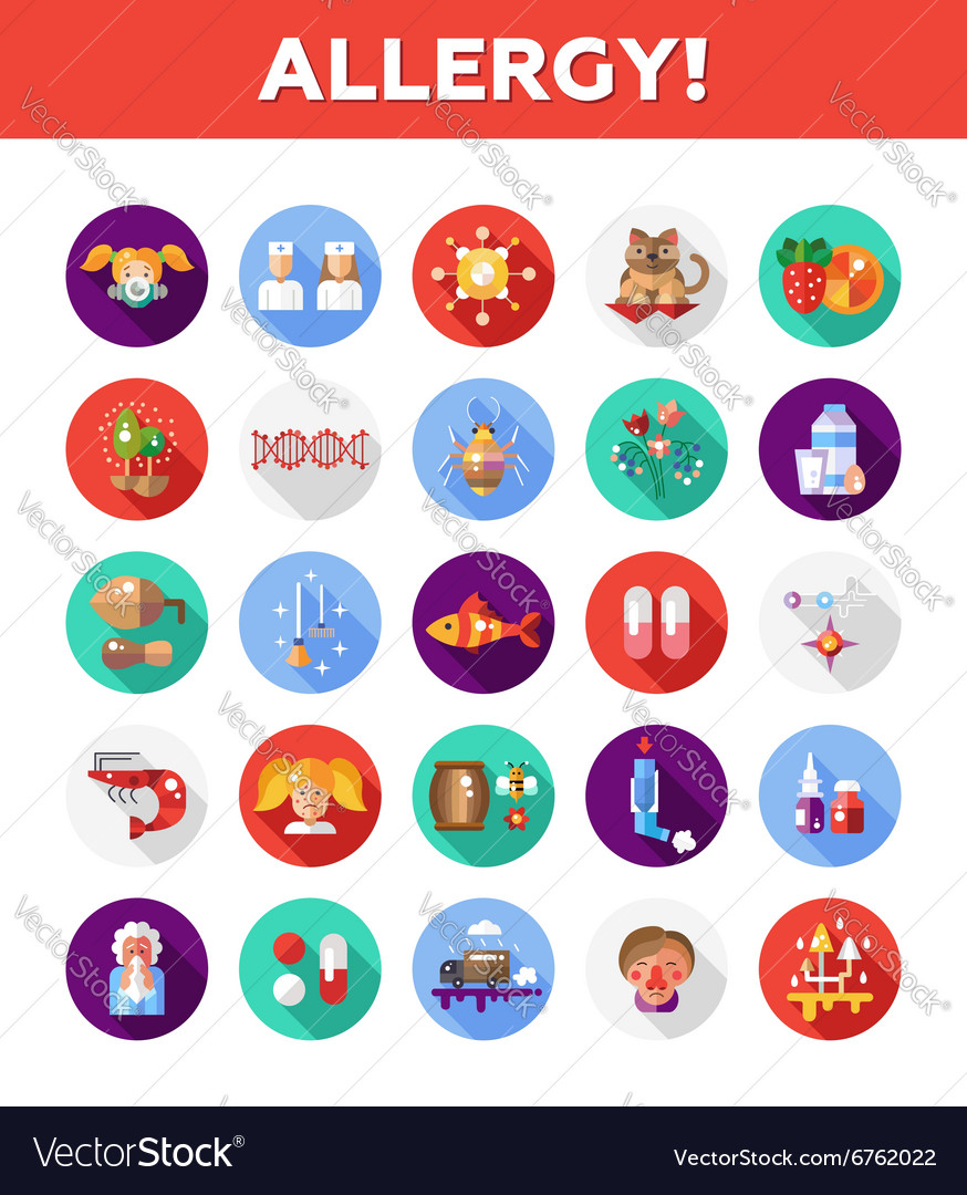 Set of flat design allergy and allergen icons vector
