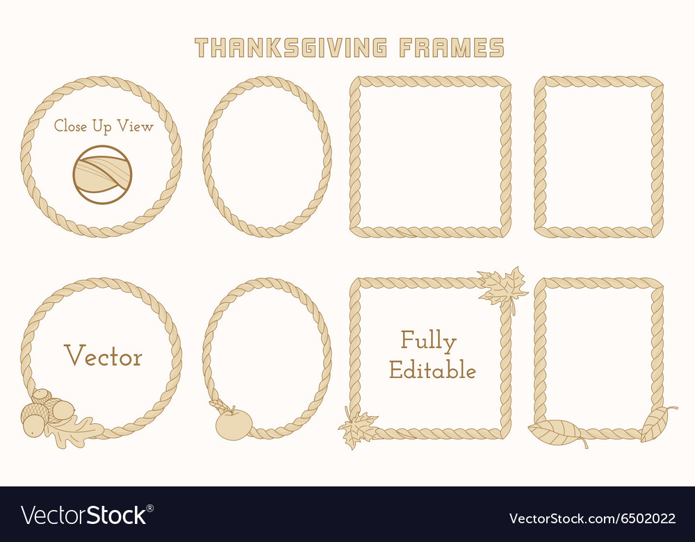 Set of thanksgiving frames with hand drawn vector