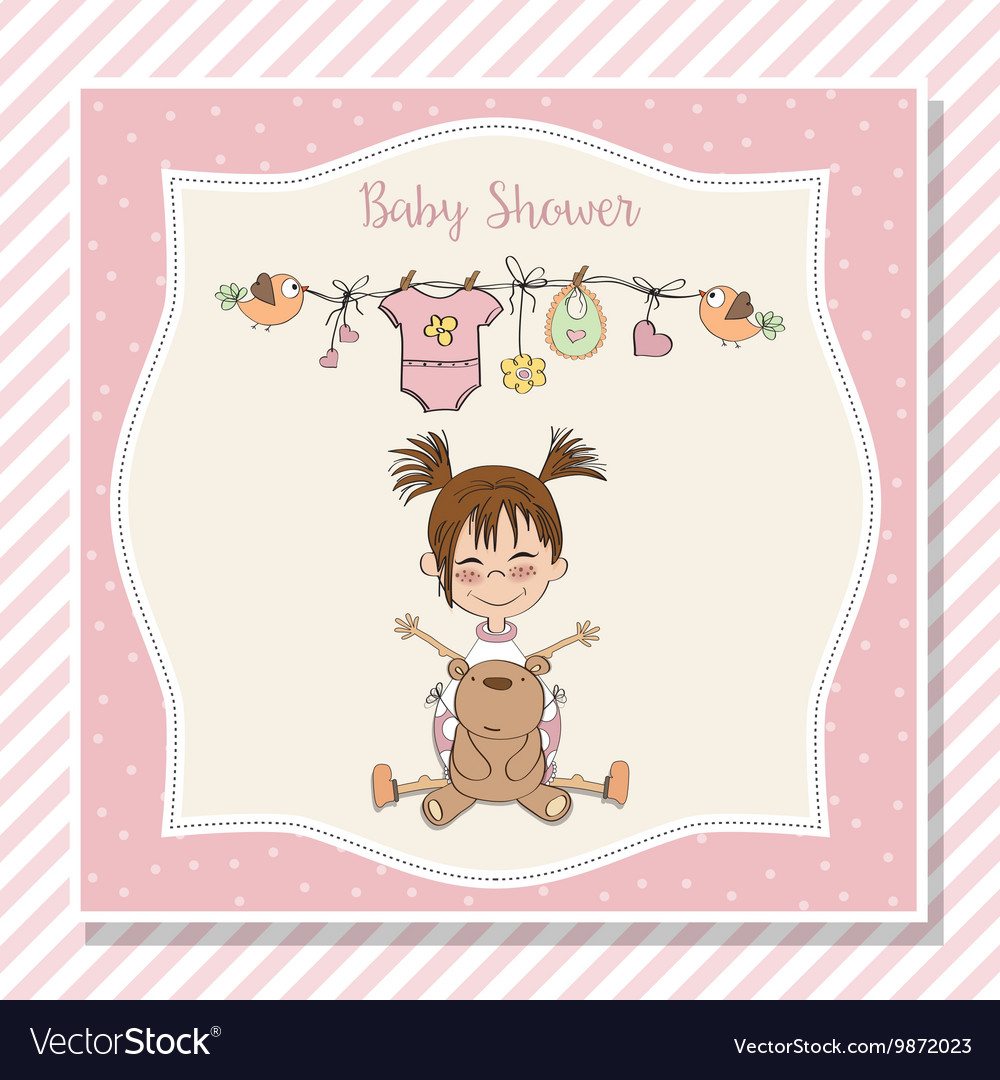 Baby girl shower card with little girl and her vector