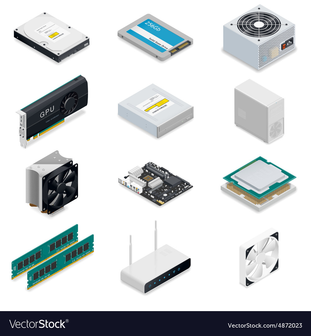 Computer detailed isometric parts vector