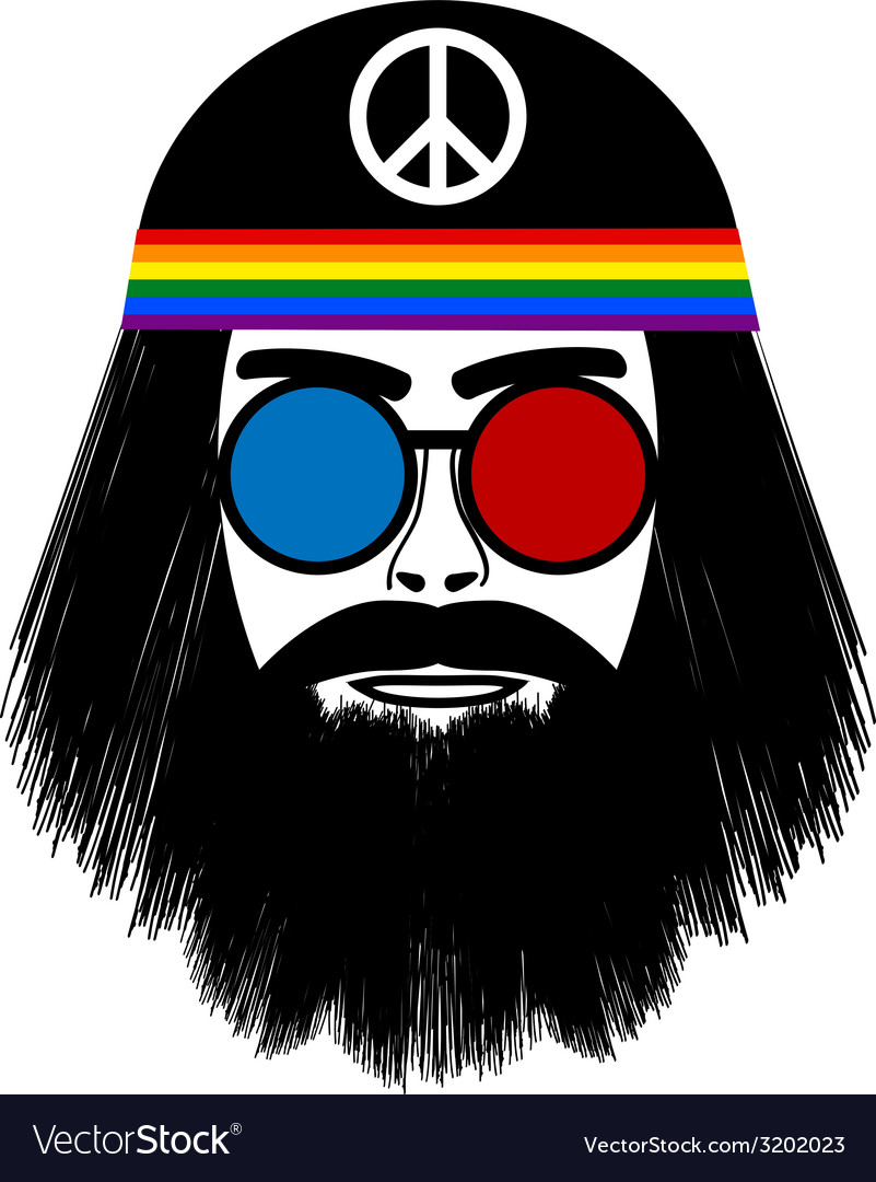 Hippie face icon vector
