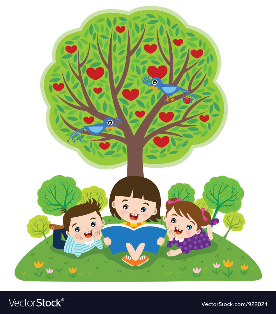 Children reading books vector