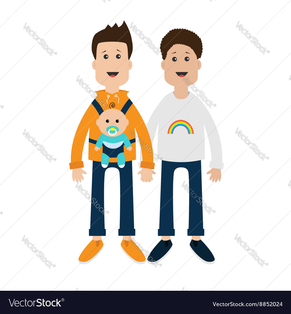 Gay family two fathers with baby boy son in baby vector