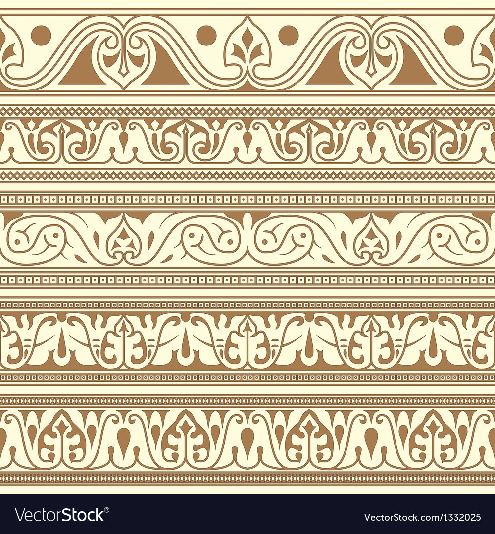 Arabic seamless borders vector
