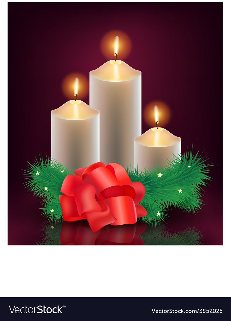 Christmas new year card 3 burning candles vector