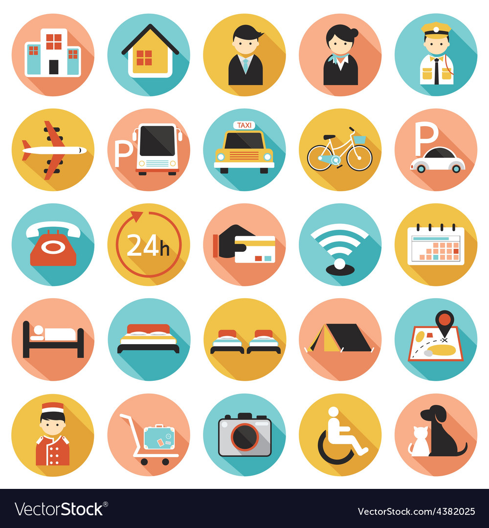 Hotel accommodation amenities services icons set a vector